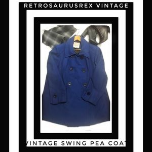 Vintage Navy Blue Swing Pea Coat Plus Size 1X 20w